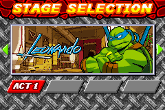 Teenage Mutant Ninja Turtles - Level Select  - Act 1 - User Screenshot